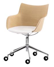 Kartell Q/Wood Chair on Wheels