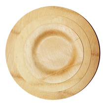 Bamboo Veneer Round Plate Large, 100 count box