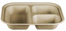 "10 x 7.5 x 1.5"" Three Compartment Fiber Tray | 400 count"