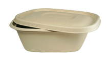 "8.8"" x 6.8"" x 3"" Fiber To-Go Box With PLA Lining 