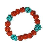 Turquoise and Rudraksha Beads Wrist Mala