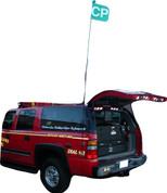 Extends about 10 feet above vehicle. Each Led light takes 2 AA batteries.
