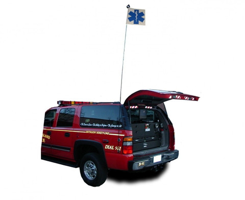 10-foot sectional aluminum pole with shock cord, Star of Life Flag and 2 blue  LED Light.