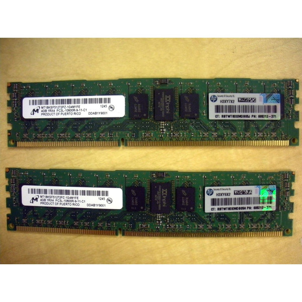 HP Integrity rx2800 i4 AT108A 8GB (2x 4GB) Memory Kit PC3L-10600R-9 605312-371
