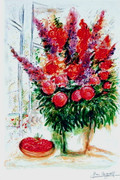 Marc Chagall Signed Bouquet With Bowl Of Cherries With COA