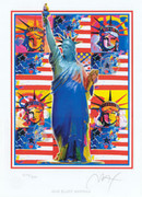 Peter Max Hand Signed God Bless America L/e W/coa Nr!