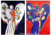 Peter Max Hand Signed Stunning Angel Collection Suite 2 Prints