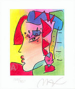 Peter Max Rare Lady Profile Iv Hand Signed Litho With COA
