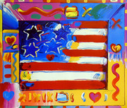 Peter Max Stunning Rare Flag With Heart Ii