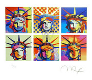 Rare Peter Max Six Statue Of Liberty Hand Signed With COA