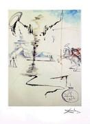Rare Salvador Dali Signed Ltd Ed Don Quixote W/coa