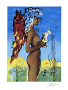 Rare Salvador Dali Signed S/n Ltd Ed Surreal Love W/coa