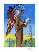 Rare Salvador Dali Signed S/n Ltd Ed Surreal Love W/coa