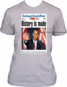 Barack Obama Collectible History Is Made Newspaoer Cover T-shirt