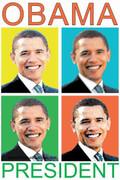 Barack Obama Pop Art Faces Cool Poster