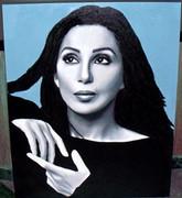 Stunning Steve Kaufman Cher Thinking