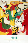 Dynamic Franz Kline Black on Green, Red and Yellow