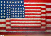 Rare Jasper Johns Three American Flags