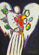 Splendid Peter Max Angel Heart on Black, Ltd Ed Silkscreen SIGNED with COA