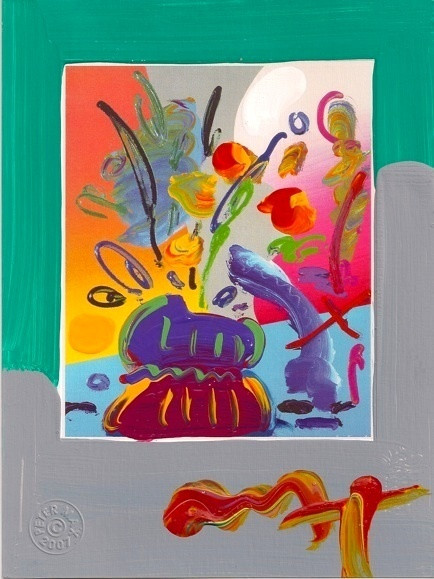 Fab Peter Max Signed With Coa Vase Of Flowers Mixed Media Acrylic