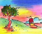 Beautiful Quiet Lake, Ltd Ed Lithograph, Peter Max - SIGNED with COA