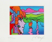 Exciting Peter Max Hand SIGNED w/COA Geometric Profile & Sailboats, Ltd Ed