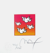 Fab! Flying Doves, Ltd Ed Lithograph Peter Max hand SIGNED with COA