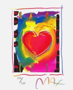 Peter Max Hand SIGNED with COA Great Heart Series I, Ltd Ed Lithograph