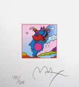 "Peter Max Hand Signed  Woodstock Profile Ltd Ed Mini 4.875"" x 4.5""  COA"