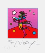 "Stunning  Peter Max SIGNED with COA Star Catcher Ltd Ed Lithograph 3.5"" x 3"""