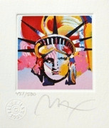 "Spendid Peter Max - SIGNED w/ COA Liberty Head VI Ltd Ed Lithograph 3.5"" x 3"""