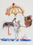 Extraordinary Anti-Umbrella with Atomized Liquid, Ltd Ed Sik-screen & Collage, Salvador Dali