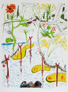 Stunning Biological Garden, Ltd Ed Mixed Media (Lithograph & Collage), Salvador Dali