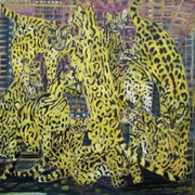 Fab! Ocelots, Original Acrylic Painting on Canvas, Hunt Slonem - Large!