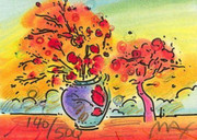 "Fab! Peter Max  SIGNED with COA Vase with Tree, Ltd Ed Lithograph  2"" x 2.75"""