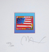 "Great Flag Heart on Blue Ltd Ed Litho 4.875"" x 4.5 Peter Max SIGNED w/COA"