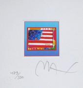 "Great Flag Heart on Blue Ltd Ed Litho 4.875"" x 4.5 Peter Max SIGNED w/COA"