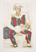 Pablo Picasso Estate Collection Arlequin a la Guitare Hand Signed with COA