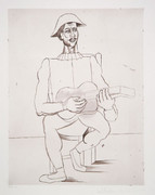 Pablo Picasso Estate Collection Arlequin Moustachu a la Guitare Hand Signed with COA