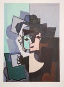 Pablo Picasso Estate Collection Portrait de Face sur Fond Rose et Vert Hand Signed with COA