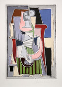 Pablo Picasso Estate Collection Femme au Tablier Raye Vert Hand Signed with COA