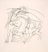 Pablo Picasso Estate Collection Taureau et Cheval Hand Signed with COA
