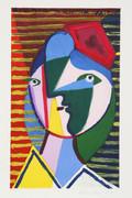 Pablo Picasso Estate Collection Visage de Femme sur Fond Raye Hand Signed with COA