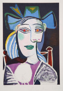 Pablo Picasso Estate Collection Buste De Femme Au Chapeau Bleu Hand Signed with COA