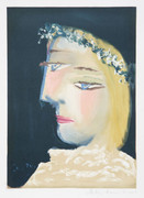 Pablo Picasso Estate Collection Femme a la Robe, Blanche Couronee de Fleurs Hand Signed with COA