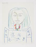 Pablo Picasso Estate Collection Portrait De Femme Au Collier Hand Signed with COA