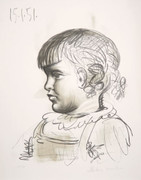 Pablo Picasso Estate Collection Portrait d'Enfant Hand Signed with COA