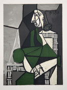 Pablo Picasso Estate Collection Portrait de Femme Assise, Robe Verte Hand Signed with COA