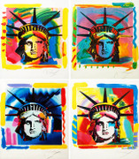Hand Signed Liberty Heads (Set Of 4) By Peter Max Retail $16k