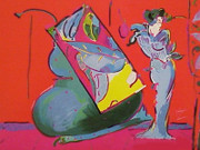Hand Signed Lady On Red With Floating Vase By Peter Max Retail $11.5K